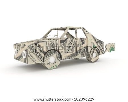 Model of a car made by dollar bills - stock photo