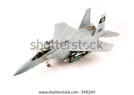 Model of a F-15 Eagle airplane - stock photo