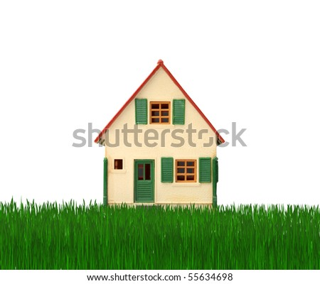 Model of a house on a green meadow