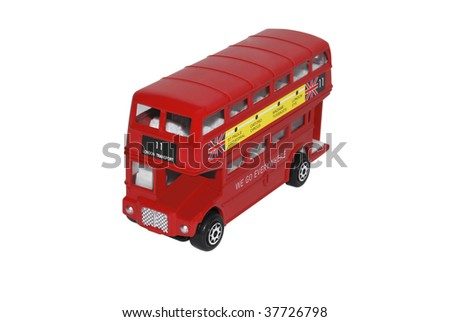 Model of a London double decked bus isolated on white - stock photo