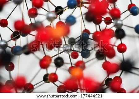Model of a mineral crystal structure. - stock photo