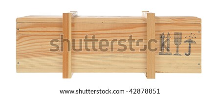 model of a wooden shipping box isolated on white background