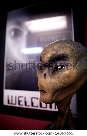 Model of alien from 1947 crash in Roswell, NM. - stock photo