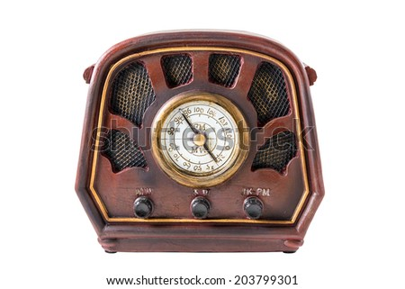 Model of an ancient radio receiver on the white background - stock photo
