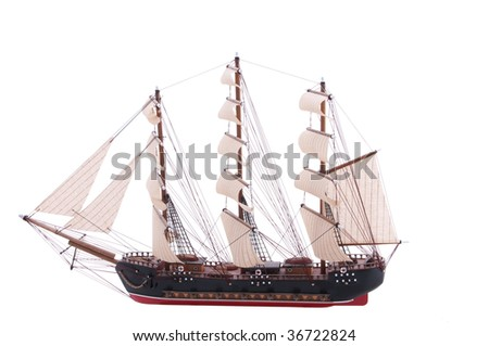 model of an old frigate isolated on white - stock photo