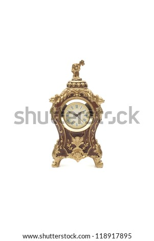 Model of antique clock isolated on white background - stock photo