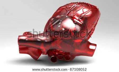 Model of artificial human heart - stock photo