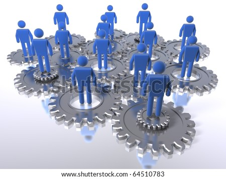 Model of 3D figures on connected cogs as a metaphor for a team - stock photo