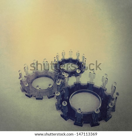 Model of 3d figures on connected cogs as vintage style concept - stock photo