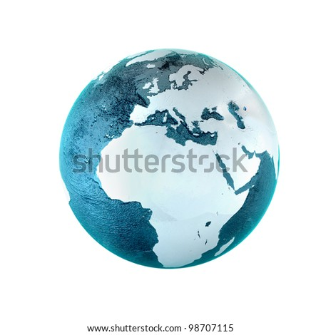 Model of Earth. Conceptual symbol of the Earth. Africa and Europe view. Planet earth model isolated on white background - stock photo