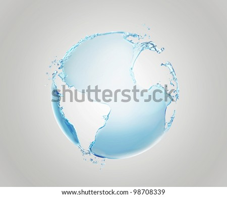 Model of Earth made of water splashes. Conceptual symbol of the Earth.  Planet earth model isolated on a gray background. - stock photo