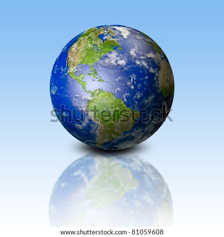 model of Earth on blue background - stock photo