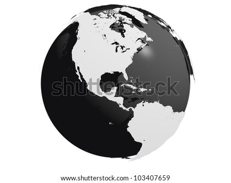 Model of Earth with black core and continents hovering over the sphere. Elements of this image furnished by NASA