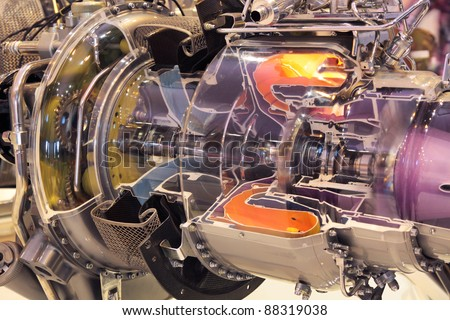 Model of gas turbine engine planes in the section - stock photo