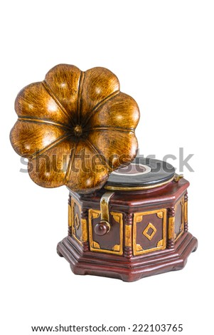 Model of gramophone on the white background - stock photo