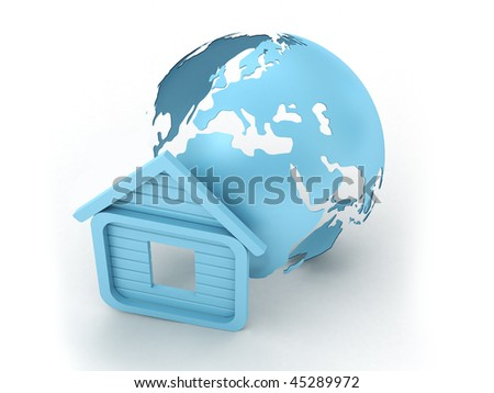 model of house and earth model - stock photo