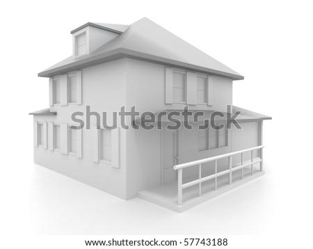 Model of house. 3d - stock photo