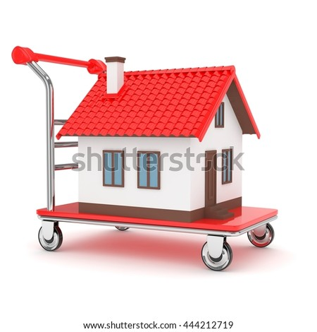 Model of house on wheeled platform on white background. Concept of property moving, delivering. 3D rendering. - stock photo
