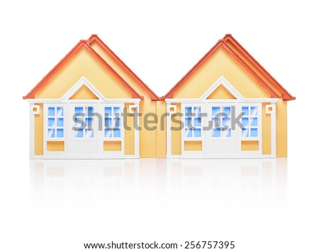 Model of house on white background. Copy space. Ideal for real estate or mortgage concepts. - stock photo