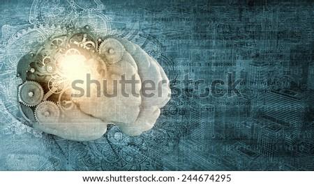 Model of human brain and cogwheel mechanism - stock photo