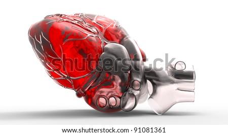 Model of human heart - stock photo