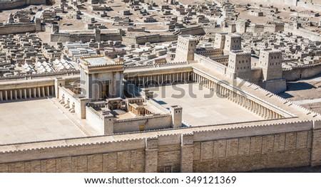 Model of Jerusalem Temple from First Century, Israel Museum, Jerusalem - stock photo
