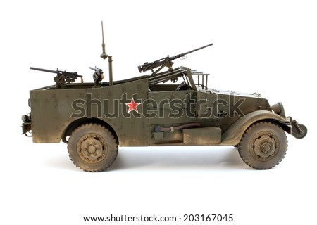 Model of M3 Scout car a right side view - stock photo