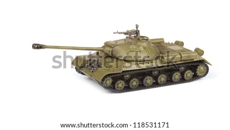 model of old soviet tank isolated on white background