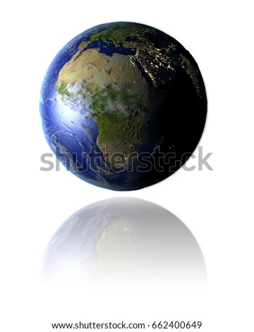 Model of planet Earth facing Africa hovering above reflective bright surface. 3D illustration isolated on white background. Elements of this image furnished by NASA.