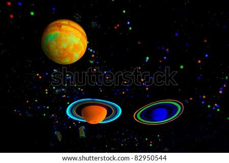 Model of planets in solar system (Jupiter, Saturn, Uranus). - stock photo