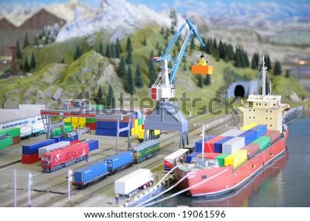 Model of port with railway - stock photo