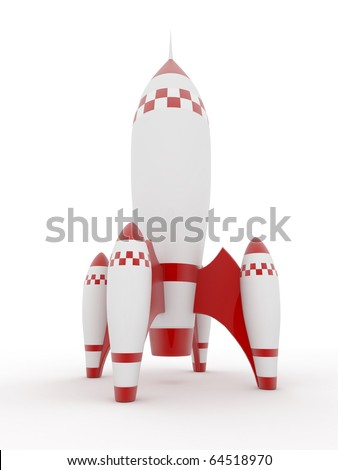Model of rocket on white isolated background. 3d - stock photo