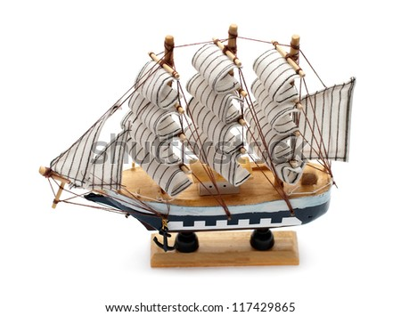 model of sailboat isolated on white background - stock photo
