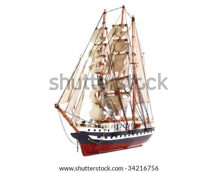 Model of sailing frigate. Isolated. - stock photo