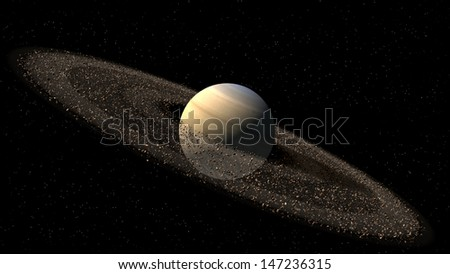 Model of Saturn like planet with asteroid rings for a space background, with clipping path included in the file - stock photo