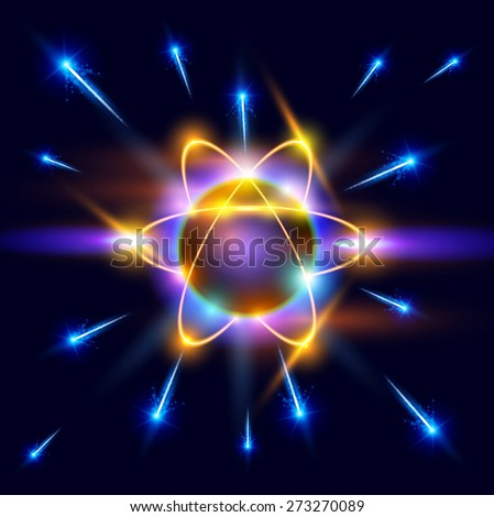 model of the atom and blue sparks around - stock photo
