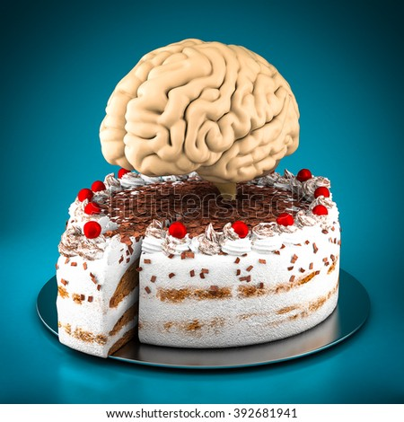 model of the brain isolated on blue background - stock photo