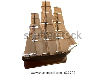 Model of the Cutty Sark sailing ship. It took me over one year to complete this model. Isolated on a white background.