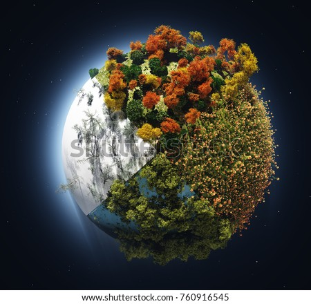 Model of the globe with trees on the background of the night sky,3d render