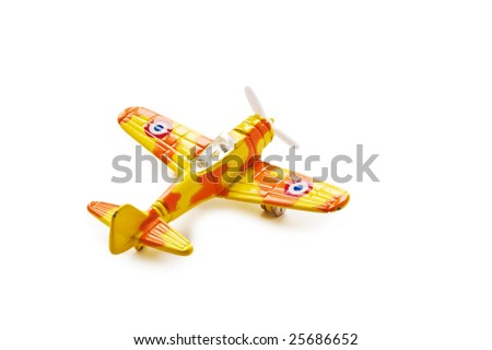 Model of the military plane. A photo on a white background. - stock photo