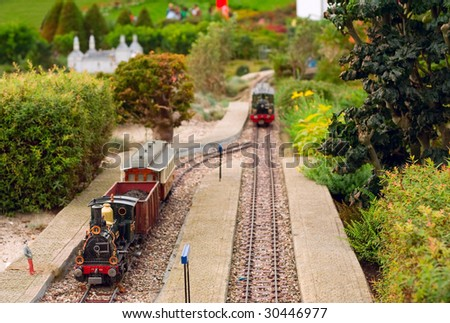 model of the railway in the open-air museum in the Netherlands - stock photo