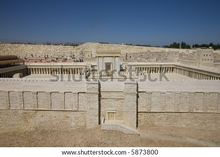 Model of the Second Temple, Israel Museum - stock photo
