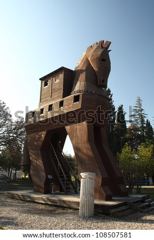 Model of the Trojan Horse  in Troy, Turkey - stock photo