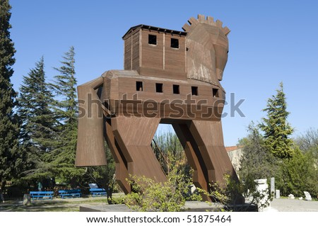 Model of the Trojan Horse located in Troy, Turkey - stock photo