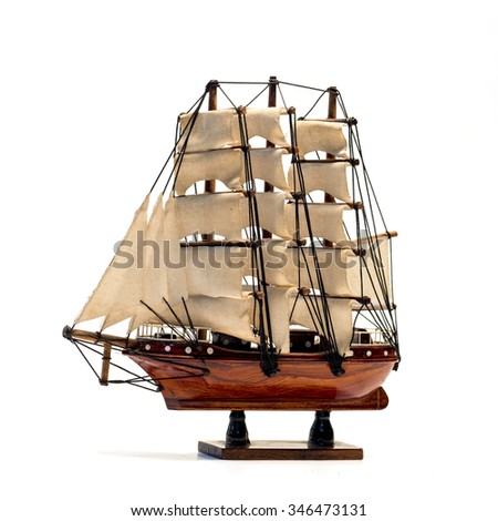 Model of the wooden antique schooner isolated on white background - stock photo