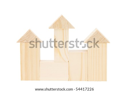 Model of the wooden house on white background - stock photo