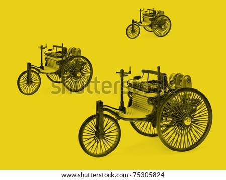 Model of vintage petrol car - stock photo