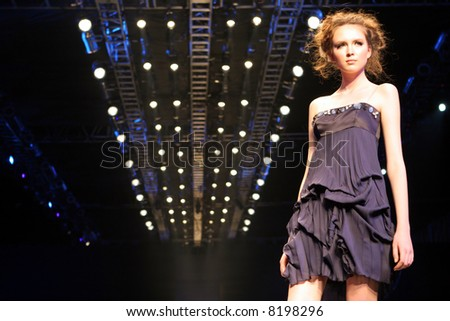Model on the catwalk at Seoul Collection (Fashion Week) 08 S/S. - stock photo