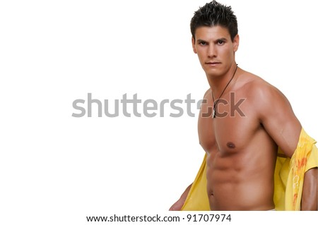 model photographed while wearing a shirt - stock photo