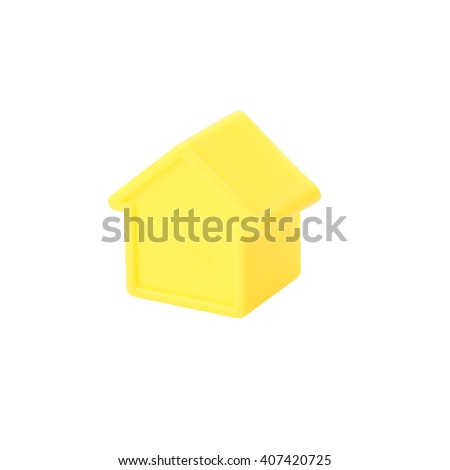 Model plastic small house on white background.